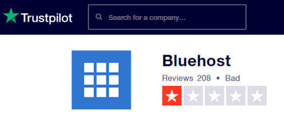 Bluehost Trustpilot