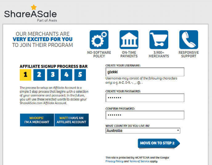 ShareASale - Choose username and password.